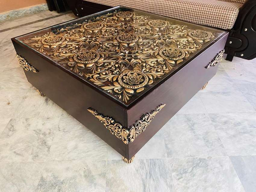 Golden Center Table With Chinyoti Work brand new bed sofa table 0