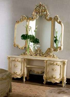 Meja tolet atau meja cermin + kursi, kayu jati, free ongkir