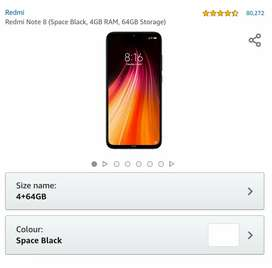 Redmi Note 8(4/64) black seal pack with bill