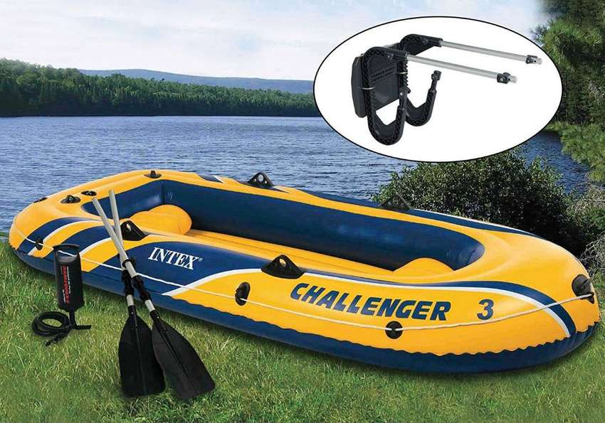 Intex Challenger 3 Boat 2 Person Raft & Oar Set Inflatable with Motor 0