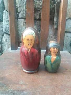 Boneka kayu matryoshka moscow rusia eropa seri presiden bill clinton