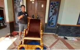 Kursi sofa goyang / males, kayu jati finis natural, free ongkir