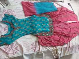 Blue and hot pink Patiala Suit
