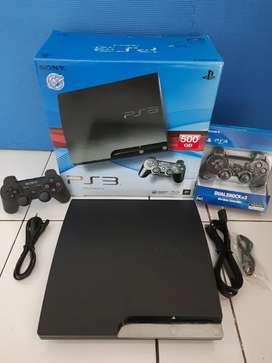 Jual Sedang BU PS3 Slim 500GB full 100 Game FULLSET 2 STIK