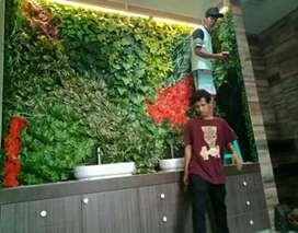 Vertical garden indor sintetis daun pelastik