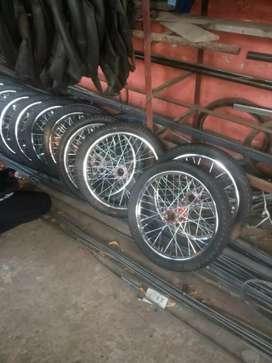 Roda gerobak ruji montor komplit as dan laker