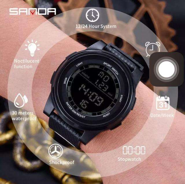 SANDA 365 SPORT WATCH WATERPROOF ALARAM DATE RUBBER STRAP LUMINOUS 0