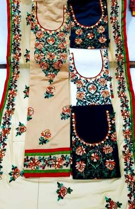 CHANDERI SUIT WITH INNER AND DUPATTA