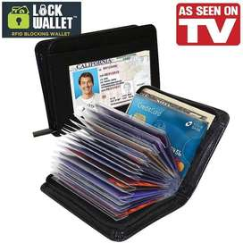 Lock Wallet Secure RFID Blocking Credit Card (Dompet Kartu Kredit)