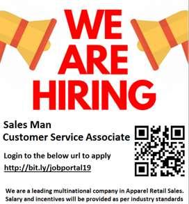 Vacancies for Customer Service Associate / Sales Man
