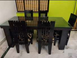 Dining table sofa set double bed and washing machine