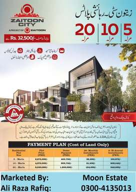 5,10,20  Marla Plots On easy Installment Plan In Zaitoon City,