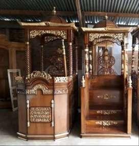 mimbar masjid kubah kayu jati diukir