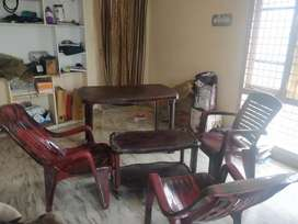 Dinning table,small table,three chairs-plastic