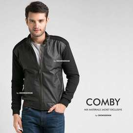 Jaket Comby Cotton Leather Dark Brown Style - SK51