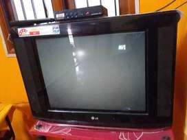 Black CRT TV With Black Wooden TV Stand