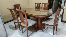 Meja makan jati asli jepara halusan kursi 6