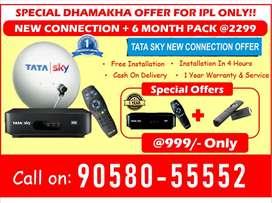 DTH Dhamakha - TATA SKY WITH 6 MONTH FREE - Tatasky, Airtel, DishTV HD