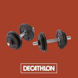 Decathlon 20 kg adjustable dumbell set MRP Rs. 6500