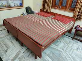 Double bed with mattress and without box