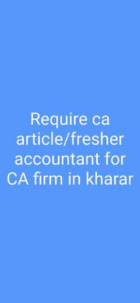 Need ca article or fresher accountant for ca firm in kharar, punjab