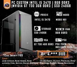 PC Rakitan Intel For Gaming & Office I5 3470 Feat GT 730 4GB