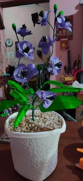 bunga anggrek ungu atrifical pot twister diameter 18-24