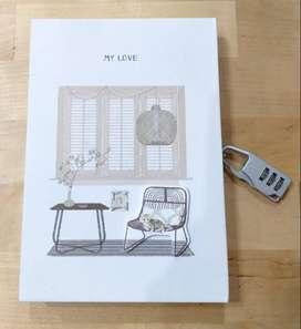 Buku Tulis Diary Gembok Angka Serbaguna Karakter Kucing Kode 5 A5