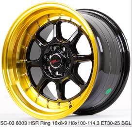 Jual Velg  HSR Ring 16X8/9 H8X100-114,3 ET30/25 BK/GOLD
