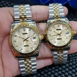 ROLEX Daydate COUPLE automatic all stenlis stell body 38mm dan 34mm