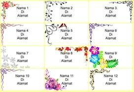 Label Nama Motif Undangan Pernikahan, Ultah, Acara, Rapat