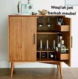 Meja bar mini Retro modern, P. 100xT. 80xL. 45cm, bahan kayu jati tua
