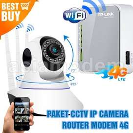 Paket CCTV IP Camera HD 360 IP Cam Wireless & Router Modem 4G LTE Wifi