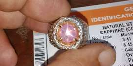 Pink Sapphire Star ceylon ikat perak