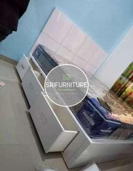 Sri furniture tempat tidur HPL putih