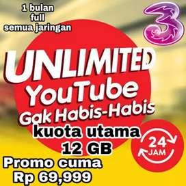 Paket data tri 12gb bonus youtube unlimited three murah