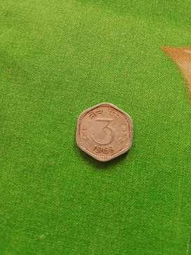 3 PAISA COIN OF 1968 GENUINE