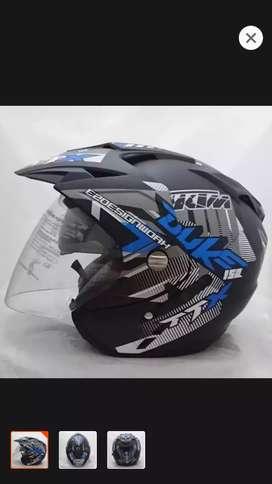 Helm duke biru dobel kaca