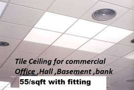 Tile ceiling for offices shops plaza banks gypsum and plastic ceiling
