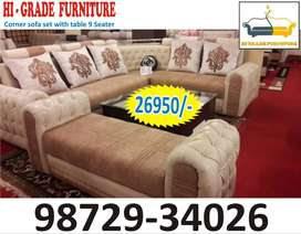 latest model nine seater sofa set with center table