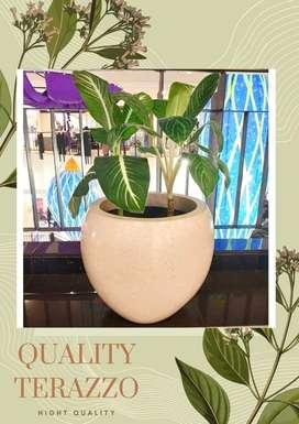 Pot tanaman terazzo tipe Bakul TERBARU D45cm glossy