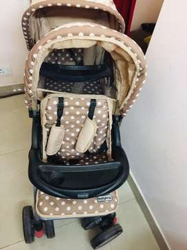 7000-/ - Babyhug Easy Foldable Twin Stroller With Adjustable Leg Rest