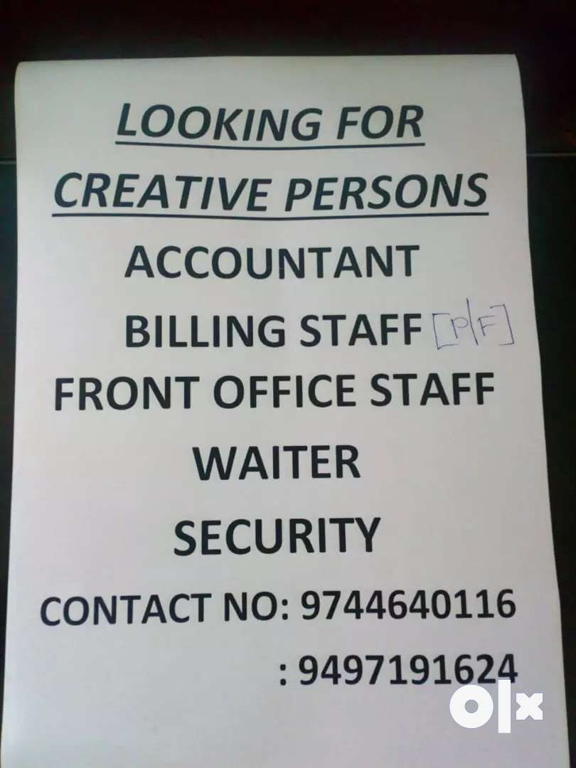 Need staff for this possitions 0