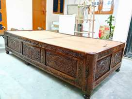 Two 3*6 Deewans with antique wood carving