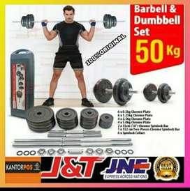 alat fitness gym dumbel barbel set 50 kg original