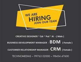 We r hiring Designer / BDM / CRM