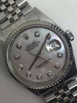 Rolex Men SS Datejust Pearl diamonds watch