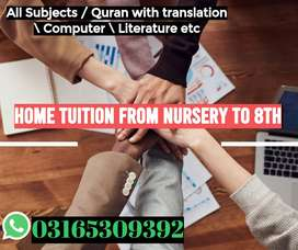 HOME TUITION FROM NURSERY TO 8TH
