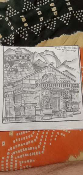 Shree kedarnath dham pencil sketch