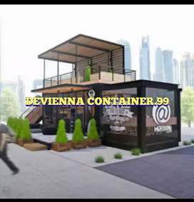 Container booth Coffeshop caffe bar Container desain custom booth